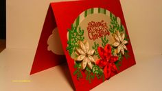 2 handmade quill poinsettia christmas cards in 2 different matching styles with quilling.