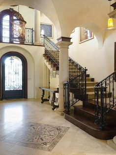 Staircase in a European style mansion, Topanga, California
