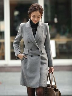 Grey fashion long double breasted coat | lisafashiondress - Clothing on ArtFire