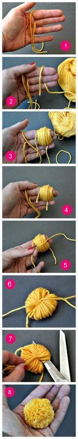 pompons maken op je hand