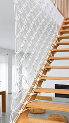 Perfect Diy Stair Handrail Ideas - Little Piece Of Me Like the staircase itself, its fence has a very important visual role in the space. Sometimes the stair railing is more impressive than the stairs itself. Rope Railing, Stair Handrail, Staircase Railings, Staircase Design, Handrail Ideas, Stair Design, Banisters, Basement Stairs, House Stairs
