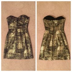 Black + Gold Strapless Party Dress Worn once to a formal, no signs of wear and recently dry cleaned. No PayPal/trades. Reasonable offers accepted via offer button only! Dresses Strapless