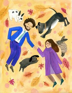 Custom hand-drawn family portrait of a couple and their pets. Made by elyluu