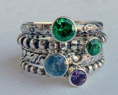 Birthstone Mothers  Rings /  Set of 4 / Faceted by GizmosTreasures