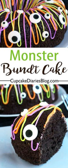 Monster Bundt Cake All you need is a cake mix and few other ingredients to make this frightfully fun Monster Bundt Cake. Everything is better with candy eyeballs! Source by momlovesbaking Dessert Halloween, Halloween Baking, Halloween Goodies, Halloween Food For Party, Halloween Cakes, Halloween Birthday, Easy Halloween, Halloween 2016, Halloween Eyeballs