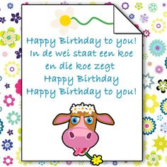 happy birthday to you in de wei staat een koe