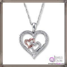 Diamond Heart Necklace tw Sterling Silver
