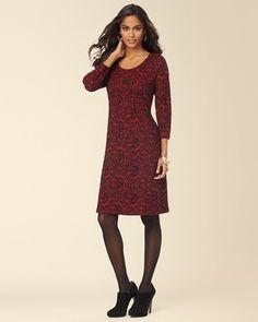 Soma Intimates 3/4 Sleeve Short Jacquard Dress Ruby/Black #somaintimates My Soma Wish List Sweeps