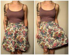 Vintage Floral and Fruit Print Hipster Summer Skirt with Pockets
