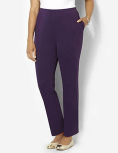 A timeless favorite that's essential to every wardrobe, this knit pull-on pant features supremely-soft, stretch cotton for everyday comfort. An all-around elastic waistband and slit hip pockets complete the cozy style. Pair with any of our Suprema tops for ultimate relaxation. Catherines pants are specifically designed with the plus size woman in mind. catherines.com