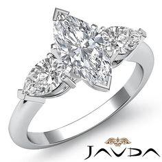 Marquise Cut Three 3 Stone Diamond Engagement Ring GIA I VS2 Platinum 950 1 5 Ct | eBay