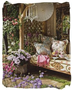 cozy little spot for lounging in the sun -- reading a book perhaps -- or just a nap :)