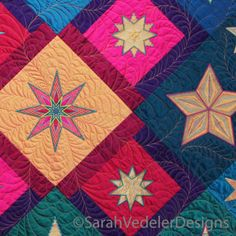 Stars by Sarah Vedeler visit.sarahvedelerdesigns.com #Embroidered Applique #SarahVedelerDesigns