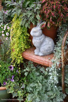 Bunny with pot of coleus, sage, creeping Jenny | homeiswheretheboatis.net #garden