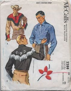 Sewing Western Menswear Using Vintage Patterns - Sew Dang Crafty Mens Sewing Patterns, Vintage Patterns, Shirt Patterns, Vintage Western Wear, Vintage Boys, Cowboy Outfits, Western Outfits, Western Dresses, Western Style Shirt