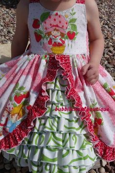 retro strawberry dress | Vintage Strawberry Shortcake ruffle dress size 3T, RTS pink, green ...