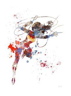 Ilustración de lámina de mujer maravilla, superhéroes, DC, arte de la pared, decoración del hogar