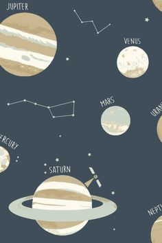 Look up to the universe and see wonderous planets orbiting across your walls in style! Head over to wallpaperdirect now to order your samples! Navy Wallpaper, Blue Wallpapers, Pattern Matching, Looking Up, Constellations, True Colors, Savannah Chat, Planets, Free Pattern