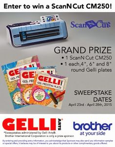 Win a ScanNCut - Enter Today! Sweepstakes ends April 28th! Gelli® Plates with ScanNCut Stencils & Masks — Your Chance to Win Big!