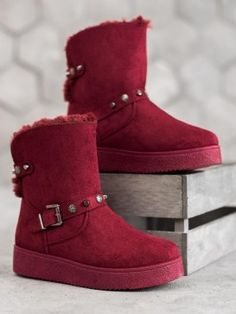 Snehule s ozdobnými prvkami Nose Types, Botas Sexy, Types Of Heels, Snow Boots Women, Suede Leather, Lady In Red, Winter Fashion, Fall Winter, Ebay