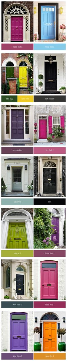 Colourful #front #doors paired with a similar paint #colour . I always wanted a purple one.
