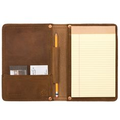 Amazon.com : Saddleback Leather Small Chestnut Notepad Holder, Writing Padfolio with 100 Year Warranty, fits legal 5x7. : Business Pad Holders : Office Products