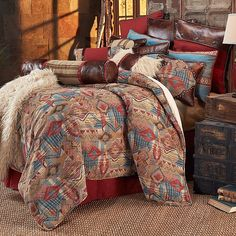 Add a touch of southwestern charm to your bedroom with the HiEnd Accents Ruidoso Comforter Set. The rustic bedding features a southwestern chenille geometric woven fabric in lively red, turquoise, gold and brown hues. Country Bedding Sets, Beach Bedding Sets, Full Comforter Sets, Rustic Bedding, Modern Bedding, Unique Bedding, Western Bedding Sets, Southwestern Bedding, Southwest Bedroom