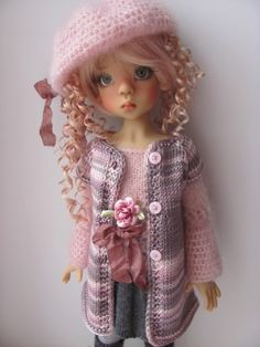 "Hand Knit Doll Outfit Set for 18"" Kaye Wiggs MSD BJD Miki 