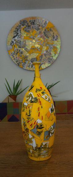 Cerámica en amarillos. Mixta sobre barro toledano. 40cm de altura. Montes de Toledo. Ignacio Klindworth 2016.