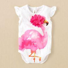 Children's Place - Flamingo Watercolor Bodysuit