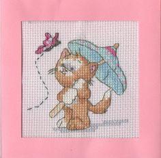 Kitten with Umbrella Cross-stiched Card