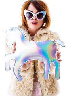 The last unicorn hologram clutch Dolls kill Chasing Unicorns, Space Grunge, The Last Unicorn, Barbie Princess, Thing 1, Boy London, Hologram, Holographic Purse, Swagg
