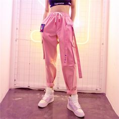 Spring Women Trousers Loosen Long Pants High Waist Pants For Women Harajuku Big Size Unisex Hip Hop Punk Pants Streetwear Spring Women Trousers Loosen Long Pants High Waist Pants For Women Har – MamyLab Komplette Outfits, Tumblr Outfits, Teen Fashion Outfits, Fashion Pants, Girl Fashion, 90s Fashion, Fashion Women, Fashion Trends, Cargo Pants Outfit