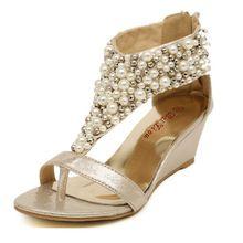 ODEMA New arrival rhinestone zipper pearl beaded high heels gold black flip flops wedges sandals women shoes spring summer 2014(China (Mainland))