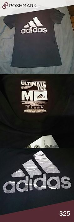 Mens Adidas climate black t-shirt sz med Mens size medium Adidas (ultimate tee) climate black t-shirt. 85% polyester 15% cotton. Excellent condition, short sleeve Adidas Shirts Tees - Short Sleeve