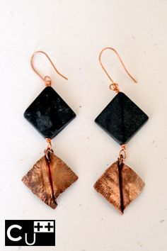 """""""Liquerice"""": handicraft copper earrings with opaque glass beads by aes Cyprium"""