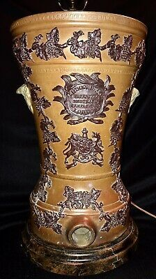 """ANTIQUE ENGLISH STONEWARE CROCK LIPSCOMBE & CO Turned Lamp1850s 23""""HX10 1/2""""D    eBay Antique Stoneware, Stoneware Crocks, Earthenware, Churning Butter, Water Filters, Brass Lamp, English, Pottery, Detail"""