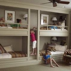 bunks. Be cute if u dressed the beds and walls up with a girly theme!