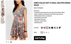 Urban Outfitters Kimchi Blue Knit Floral Skater Dress