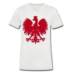 Polska V-Shirt Men [Rot/Samtig] - Männer T-Shirt mit V-Ausschnitt #polska #shop #polskashop #polskatshirt #polnischebekleidung #poloniastore   #mypolonia #polonia #store