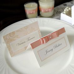Romantic Pink Rose Wedding Name card / Place by Design4Eternity