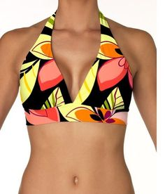 Sunsets 62T-MISE Banded Halter Sunsets. $58.00. Feel secure and look great in this supportive banded halter perfect for any activity. Banded halter top with adjustable soft neck and back ties. From swimming to strolling along the shore, you'll feel comfortable all day long. Minimal to conservative coverage; Sizes S, M, L, D, DD, E. Has V front neckline, removable soft cups, supportive underband, and matching colored lining. nylon
