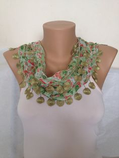 Green Scarf  Soft Chiffon Scarf Accessories for Women by MaxiJoy, $15.50