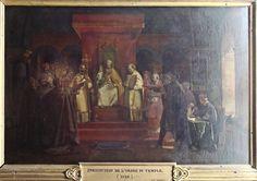 """François Marius Granet (1775-1849) - """"Institution de l'Ordre du Temple"""" - Représentation du Concile de Troyes de 1129, au cours duquel l'Ordre est créé, et doté de la règle du """"moine soldat"""" : simplicité, pauvreté, chasteté & prières. Cette règle prend pour base la règle de saint Benoît, avec quelques emprunts à la règle de saint Augustin, que suivent les chanoines de l'ordre du Saint-Sépulcre aux côtés desquels vivent les premiers Templiers - Tableau conservé au Château de Versailles."""