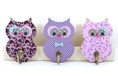 Kids wall hook , children coat rack , baby girl room wall wood hanger , Purple nursery owl wall decor by PrettymShop on Etsy https://www.etsy.com/uk/listing/450403238/kids-wall-hook-children-coat-rack-baby