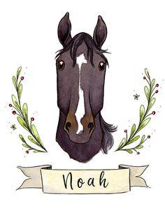 Horse Portrait Horse Lover Gift Equestrian Illustration