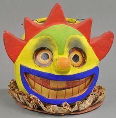 Rare, superb German heavy composition clown or carnival head lantern, bucktooth insert, older bale candle holder, uni. on Nov 2013 Halloween Toys, Halloween Candy, Vintage Halloween, Halloween Lanterns, Vintage Fall, Candy Containers, Jack O, Holiday Ornaments, Hallows Eve