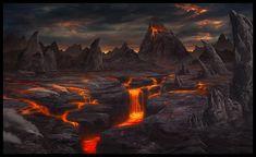 Bilderesultat for fantasy volcano Fantasy Places, Fantasy Map, Fantasy World, Dark Fantasy, Fantasy Art Landscapes, Fantasy Landscape, Animal Crossing Qr Codes, World Images, Fantasy Setting
