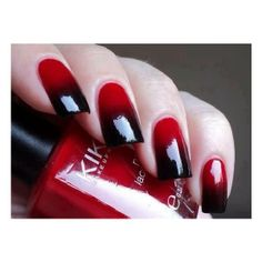 Nail Art rossa con sfumature nere found on Polyvore