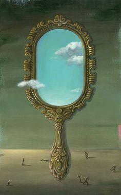 "made by: Alice Wellinger , ""Othello series"" - illustration Mirror Painting, Mirror Art, Mirrors, Alice, Shakespeare, Jacky, Art Deco Vanity, Surrealism Painting, Othello"